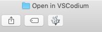 Finder toolbar with VSCodium button